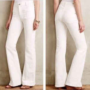 Anthropologie Pilcro High Rise Flare White Pants